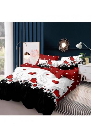 Lenjerie de pat cu inimioare rosu-alb-negru 220x230 cm 6 piese DAE8579