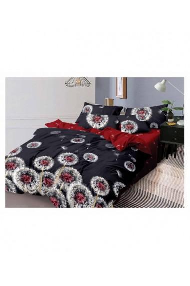 Lenjerie de pat papadie rosu-negru 220x230 cm 6 piese DAE8580
