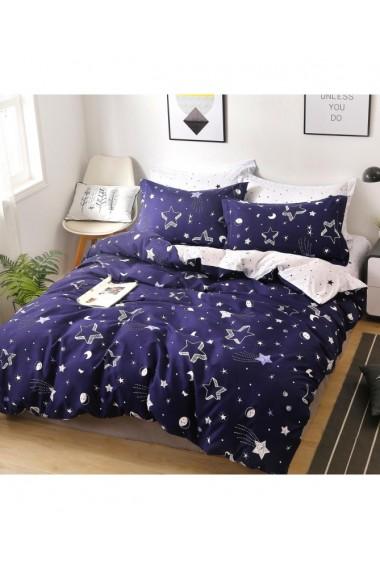 Lenjerie de pat cu stelute albastru-alb 220x230 cm 6 piese DAE8582