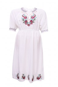 Rochie dama motive traditionale alb dae3764