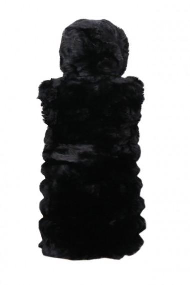 Vesta cu gluga din blana artificiala dama dae5400