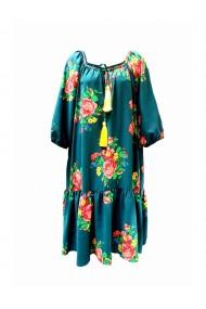 Rochie pentru dama din casmir cu motive traditionale Albastru DAE8056