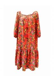Rochie pentru dama din casmir cu motive traditionale rosu DAE8057