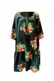 Rochie pentru dama din casmir cu motive traditionale negru DAE8058