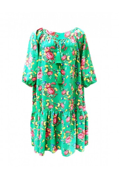 Rochie pentru dama din casmir cu motive traditionale verde DAE8059
