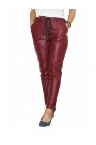 Pantaloni Vogue pentru dama din piele ecologica Visiniu DAE8088