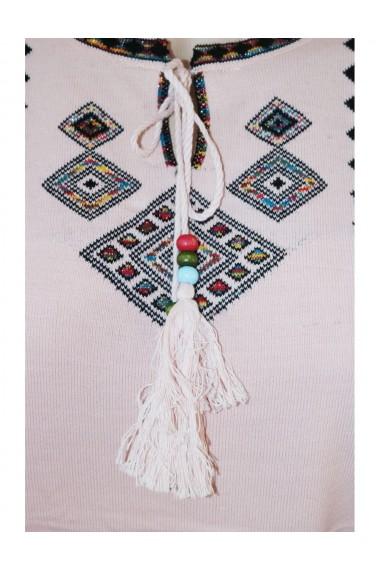 Pulover cu motive traditionale pentru dama roz pudrat DAE8107