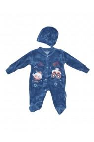 Salopeta bebe cu caciulita catifea albastru dae8206