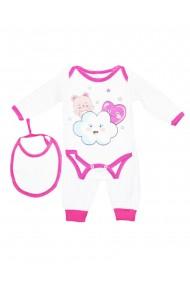 Set 3 piese bebe body bavetica pantaloni Roz dae8210