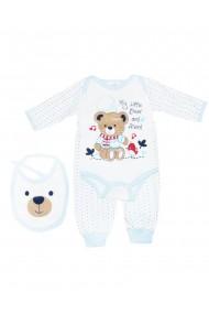 Set 3 piese bebe body bavetica pantaloni Albastru dae8211