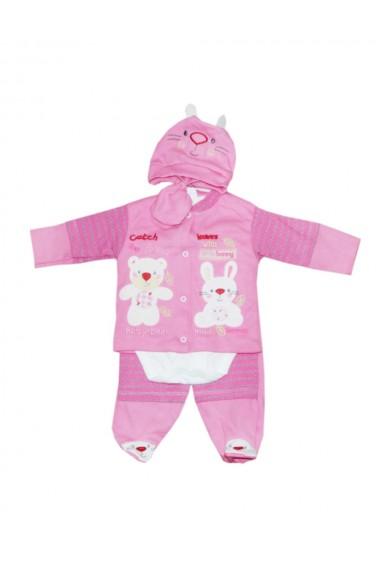 Set 5 piese bebe body bluza pantaloni manusi caciulita Roz dae8217