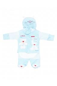 Set 5 piese bebe body bluza pantaloni manusi caciulita albastru dae8218
