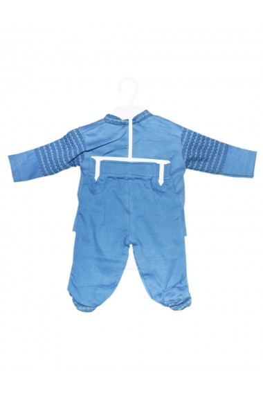 Set 5 piese bebe body bluza pantaloni manusi caciulita albastru dae8219