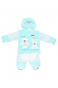 Set 5 piese bebe body bluza pantaloni manusi caciulita turcoaz dae8220