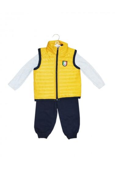 Compleu pentru baieti din 3 piese bluza pantaloni vesta galben dae8235