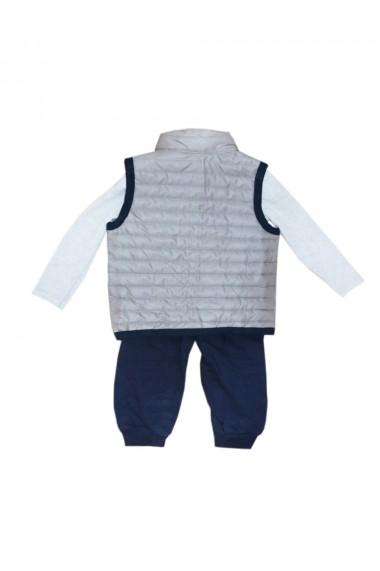 Compleu pentru baieti din 3 piese bluza pantaloni vesta gri dae8233