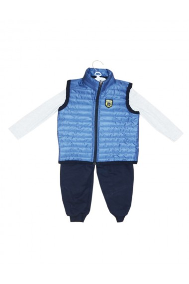 Compleu pentru baieti din 3 piese bluza pantaloni vesta albastru dae8234