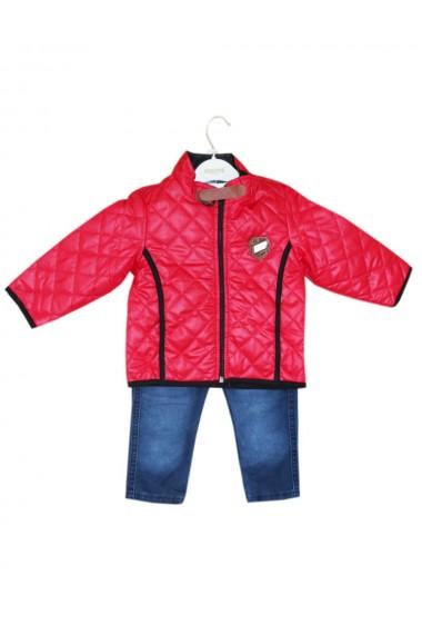 Compleu pentru baieti din 3 piese geaca blugi bluza rosu dae8236