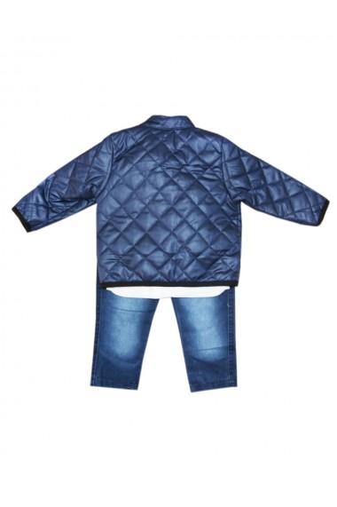 Compleu pentru baieti din 3 piese geaca blugi bluza albastru marin dae8237