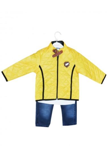 Compleu pentru baieti din 3 piese geaca blugi bluza galben dae8238