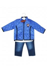 Compleu pentru baieti din 3 piese geaca blugi bluza albastru dae8239