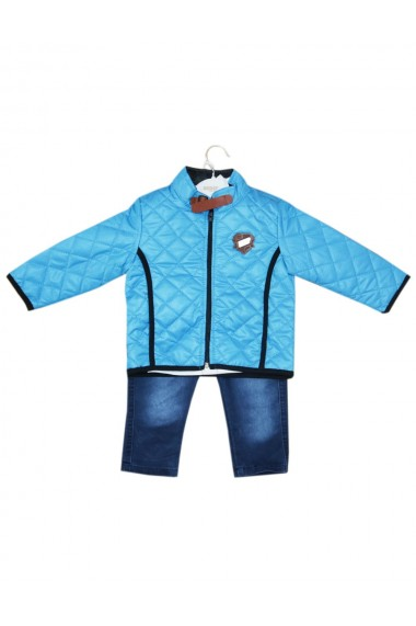 Compleu pentru baieti din 3 piese geaca blugi bluza turcoaz dae8240
