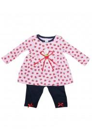 Compleu pentru fete din 2 piese rochita si pantaloni rosu dae8245