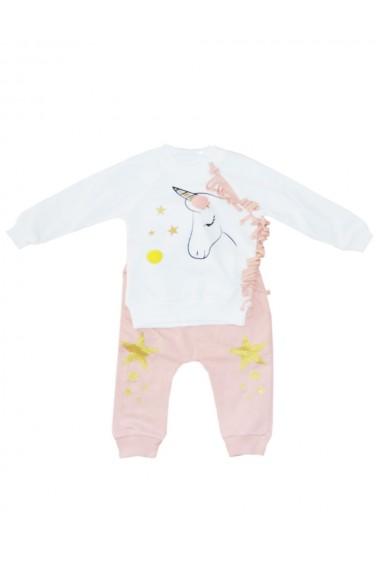 Compleu pentru fete compus din 2 piese bluza si pantaloni alb/roz dae8247
