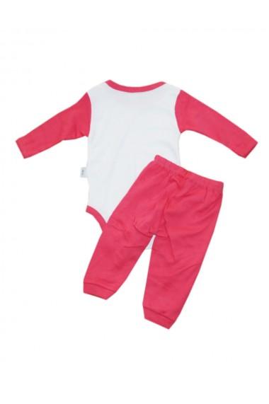 Compleu pentru fete compus din 2 piese body si pantaloni alb/roz dae8248