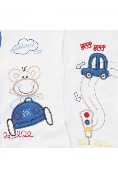 Compleu pentru baieti compus din 3 piese bluza caciula si pantaloni alb/albastru dae8249