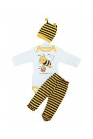 Set 3 piese bebe body caciulita pantaloni galben dae8255