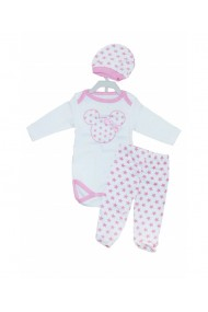 Set 3 piese bebe body caciulita pantaloni roz dae8257