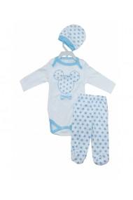 Set 3 piese bebe body caciulita pantaloni albastru dae8258