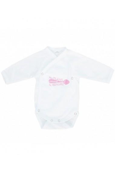 Body cu maneca lunga pentru fete alb/roz dae8267