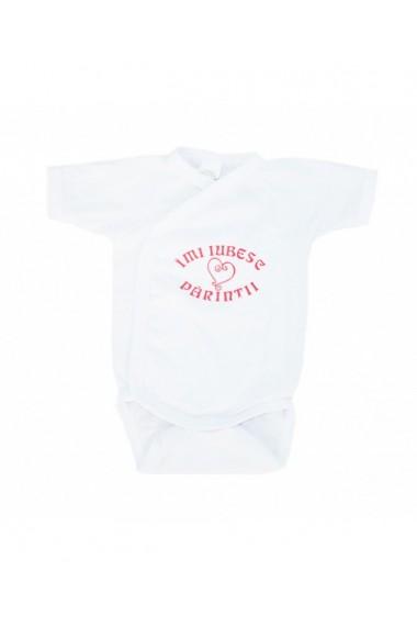 Body cu maneca scurta pentru fete alb/roz dae8270