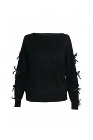 Pulover pentru dama cu funda aplicata pe maneca negru DAE8294