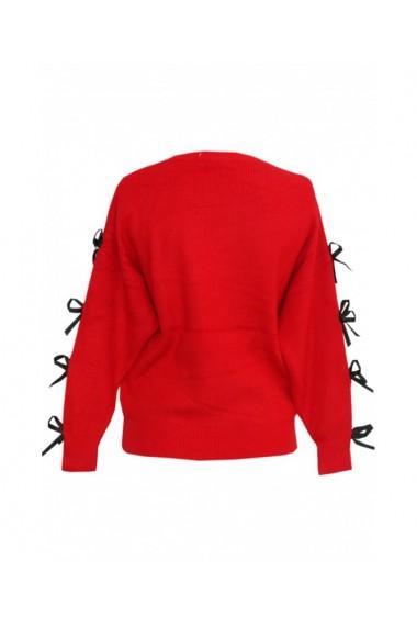 Pulover pentru dama cu funda aplicata pe maneca rosu DAE8299