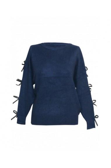 Pulover pentru dama cu funda aplicata pe maneca bleumarin DAE8301