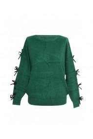 Pulover pentru dama cu funda aplicata pe maneca verde DAE8302