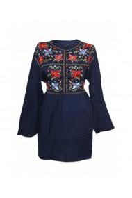 Rochie pentru dama din bumbac cu motive traditionale bleumarin DAE8303