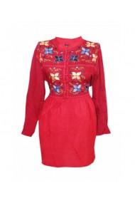 Rochie pentru dama din bumbac cu motive traditionale rosu DAE8304