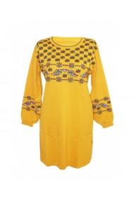 Rochie pentru dama cu motive traditionale galben DAE8308