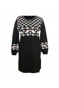 Rochie pentru dama cu motive traditionale negru DAE8311