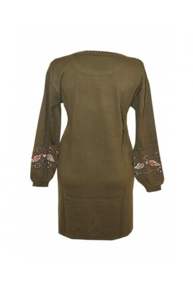 Rochie pentru dama cu motive traditionale kaki DAE8313