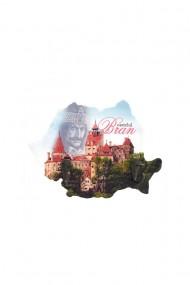 Cuier-Harta Castelul Bran-2 agatatori 18x13cm dae4067