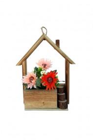 Suport lemn casa cu crizanteme 22x27 cm dae4580