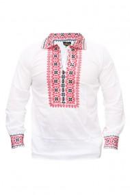 Bluza barbati tip ie brodata traditional Alb/Rosu DAE5168