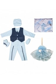 Set complet pentru botez: lumanare cu trusou si costum baieti alb-bleu 13 piese dae17146