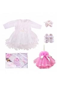 Set complet pentru botez: lumanare cu trusou si rochita fete alb-roz 11 piese dae17147