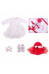 Set complet pentru botez: lumanare cu trusou si rochita fete alb-rosu 11 piese dae17148